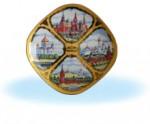 Квадратная тарелка с видами Москвы
