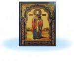 Икона св.Николай (желтый фон) на керамической плитке