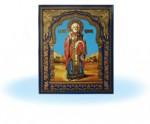 Икона св.Николай (голубой фон) на керамической плитке